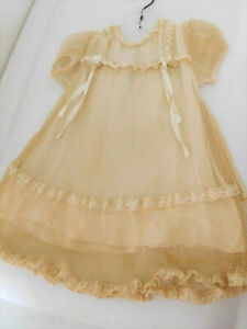 """Antique Lace Net Dress Beige for Approx. 22"""" Large Doll"""