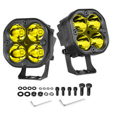 2X 3inch 80W Cree LED Cube Pods Work Light Bar Spot Driving Fog Amber Offroad US