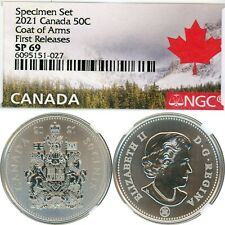 2021 - CANADA - 50 CENTS - COAT OF ARMS - SPECIMEN SET - NGC SP69 FIRST RELEASES