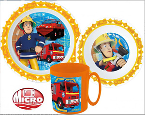 Fireman Sam   Kids 3 pcs Dinner Set Plate Bowl Mug  New