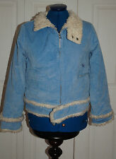 New * 10 Animal Sky Blue Corduroy Cord Cream Thick fur lining & trim Jacket Coat