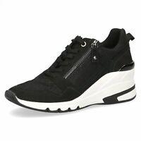 Caprice Ladies Sneakers Black Medium Wedge Heel Trainer Zip Sale
