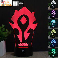 WOW World of Warcraft The Horde 3D Acrylic LED Night Light  Desk Table Art Lamp