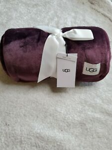 UGG Home Duffield Throw Blanket Port Burgundy 50 X 70 New