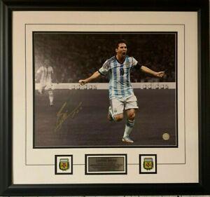 Lionel Messi Autographed 16 x 20 Argentina Spotlight Photograph Framed Signed