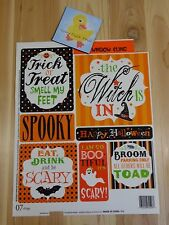 Window Clings HALLOWEEN SIGNS PHRASES ONE Sheet 7 Pieces Broom Parking Spooky