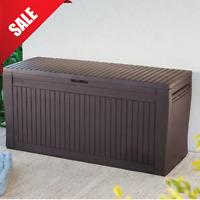 OUTDOOR BENCH Storage Organizer Patio Box Resin Deck Keter Container Waterproof