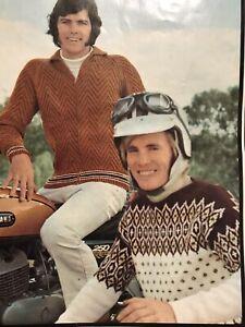Vintage 1960s Men's Nordic Jumper Zipper Jacket Knitting Pattern Patons 977