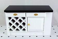 Dolls House Miniature Kitchen Furniture Black & White Island Unit End Cabinet