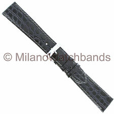 19mm Speidel Crocodile Grain Gray Genuine Leather Stitched Watch Band