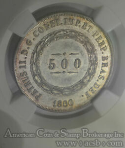 Brazil 500 Reis 1860 MS64 NGC silver KM#464 COLORFUL EDGE 2nd FINEST Pop 3/1