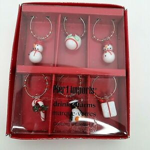 Pier 1 Christmas Holiday Wine Drink Glass Charms Markers Set Of 6