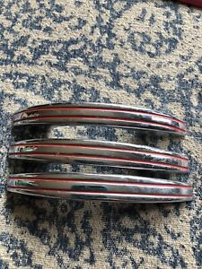 3 Vintage CHROME Drawer Pull Double red Line Cabinet Door Marked National Lock