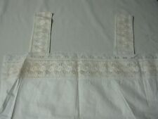 "Antique Ivory Linen Sleeveless Nightgown with Embroidered Eyelet 40"" Gorgeous!"