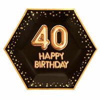 "8 x BLACK & GOLD 9"" PLATES 40 HAPPY BIRTHDAY GLITZ & GLAMOUR 40th PARTY HEXAGON"
