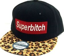 Custom Cool Hip Trendy Black/Brown Cheetah SUPERBITCH Hat Snapback Flat Bill Cap