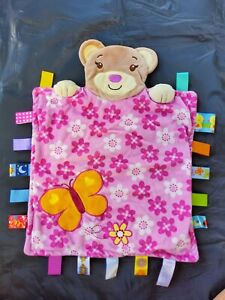 Taggies Peek a Boo Bear Pink Flower Floral Butterfly Security Blanket Baby Lovey