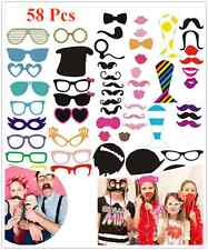 58pcs Photo Booth Props Moustache on A Stick Birthday Wedding Party Fun