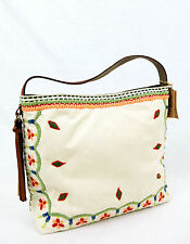 NWT LUCKY BRAND Embroidered Hobo Shoulder Bag Handbag Canvas Ivory Leather Strap
