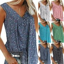 Womens Floral Boho Baggy Tank Tops Sleeveless T-Shirt Summer Loose Vest Blouse