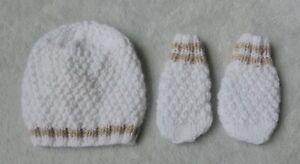 hand knitted baby boys hat and mitten set newborn white