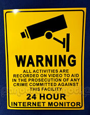 3Pcs Warning This Property Is Under 24 Hour Video Surveillance Sign security NEW