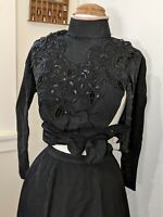 Antique Vintage 1900s Victorian Beaded Corset Top Jacket Skirt Black Embellished