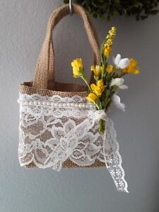Burlap and lace flower Girl Basket, Rustic, hippie, boho, yellow