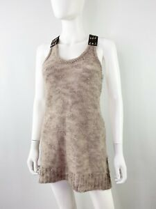 Free People Light Brown Wool Knit Tank Top with Beaded Straps Sz S