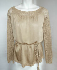 Cache SIZE 12 14 L LARGE SILKY RAYON KNIT SWEATER GOLD YELLOW
