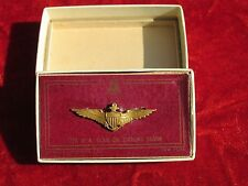WW1 WW2 Mini Navy Pilot wing Amico  pin back sterling USN original box 1/20 10kt