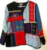 Womens,Indigo Moon,Blue Multi,Colorful,Tribal,Casual,Dressy/Blazer/Jacket/Coat L