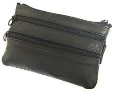 Leather Men's Large Zip Flap Coin Change Holder Front Pocket Key Ring Purse