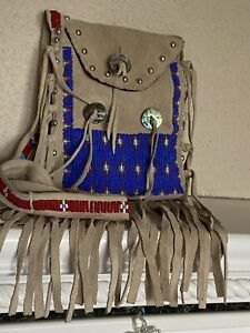 Leather Beads bag handmade by Native American Indians