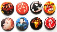 PUNK  x 8  button badges SET 3:   JOHNNY ROTTEN, ANARCHY,  DAMNED, INFA-RIOT