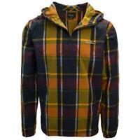 Primitive Men's Orange Yellow Navy Maroon Plaid 1/4 Zip Jacket