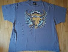 Vintage 90s 3D Emblem indian skull shirt XXL gray Harley Davidson truckers only