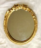 Antique Gold Gesso Wall Mirror Oval Ornate Flowers Ribbon Hollywood Regency 15""