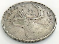 1943 Canada Twenty Five 25 Cent Quarter Canadian Circulated George VI Coin K020