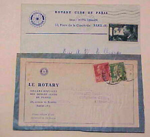 FRANCE ROTARY CLUB COVERS 1925 FRONT ONLY & 1937