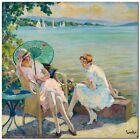 "Stunning Classical Coastal Art ~ Edward Cucuel By the Sea~ CANVAS PRINT 12x12"""