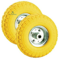 More details for 2 x puncture burst proof solid rubber sack truck trolley cart wheels spare tyres