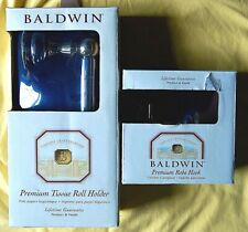 Baldwin Premium Robe Hook and Tissue Holder-Polished Brass/Polished Chrome - NEW