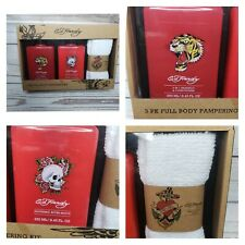 Ed Hardy 3 Pk Full Body Pampering Kit Grooming Fragrance Shampoo After Shave +