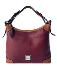 Dooney & Bourke Large Red Pebbled Leather Tan Trim Zip Shoulder Hobo Bag