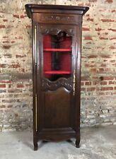 Meuble haut de rangement / armoire provençale vitrée en chêne sculpté