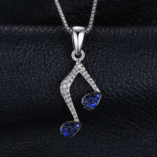 Delicate Sterling Silver & Blue Spinel Music Notes Pendant Necklace Special Gift