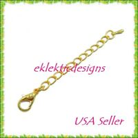 "5pc 2"" Gold Plated Lobster Clasp Extender Chain Ends Jewelry Findings Necklace"