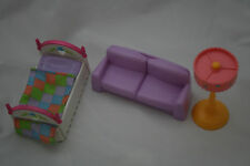 Doll Furniture Fisher Price Mattel Bed Floor Lamp Couch Love Seat Lot 3