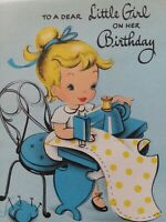1940-50s GIRL Sews DRESS on Old SEWING Machine Vtg BIRTHDAY GREETING CARD